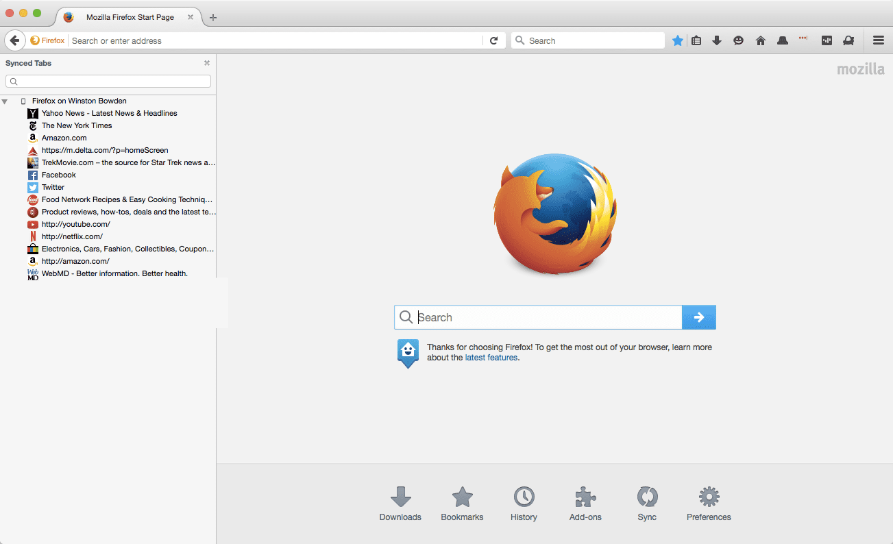 Mozilla Firefox on MacOS with homepage