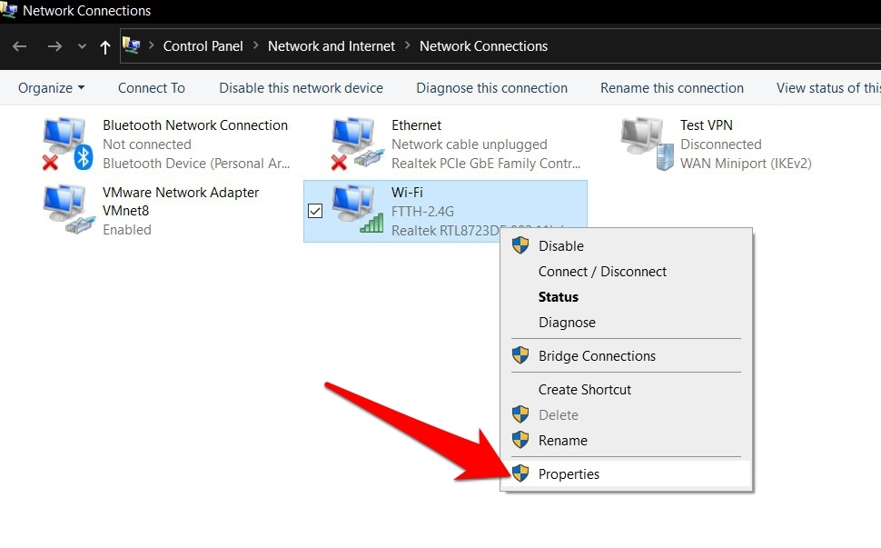 Network Connections WiFi or Internet Modem Properties