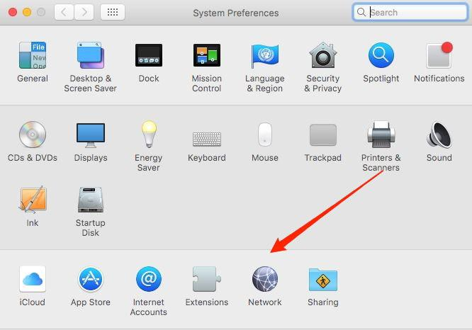 Network menu in macOS System Preference