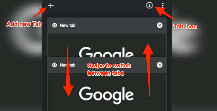 New Tab Icon and Switch Tabs in Chrome Android