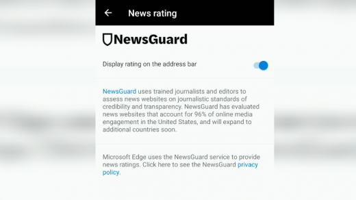 NewsGuard News rating in Edge Android
