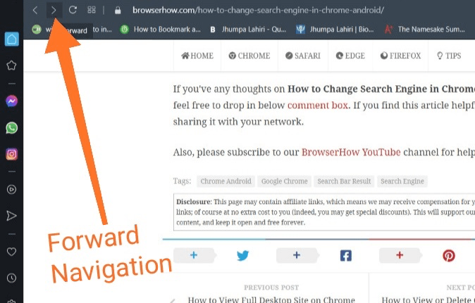 Next page forward navigation button in Opera computer browser
