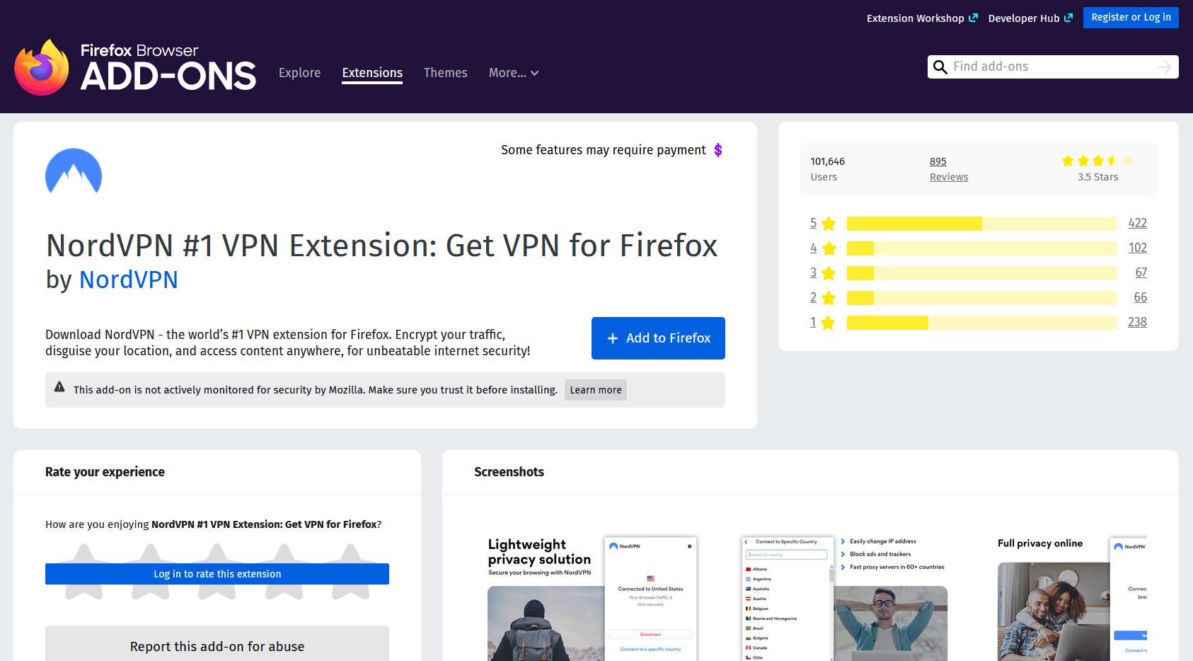 NordVPN extension for Firefox
