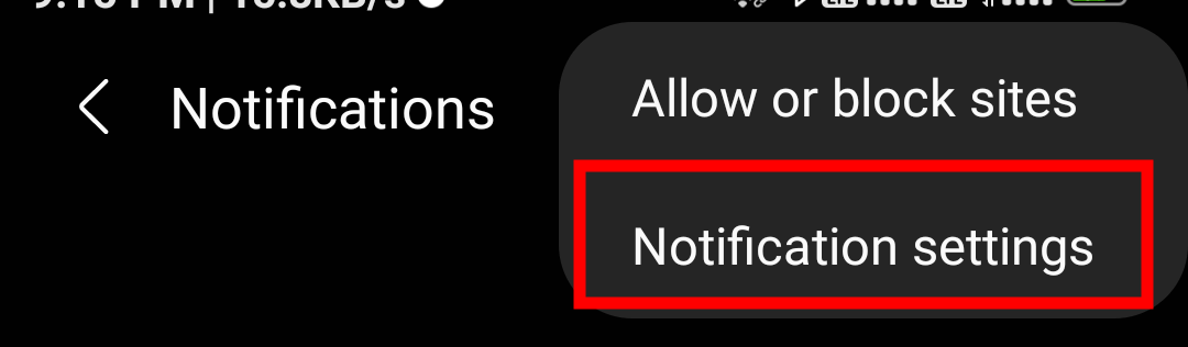 Notification Settings menu option on Samsung Internet