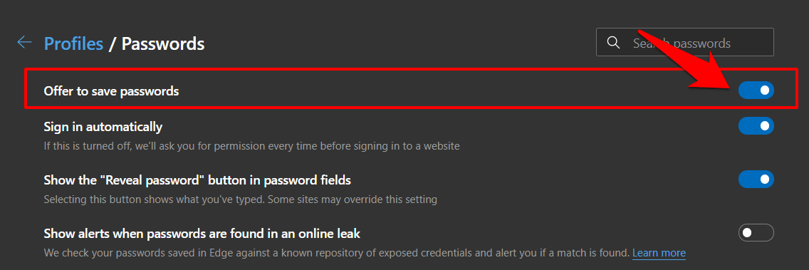 Offer to save passwords in Edge computer browser