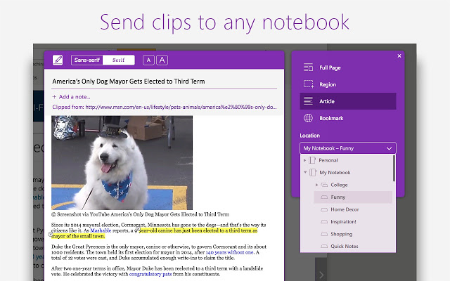 OneNote Web Clipper Browser Extension