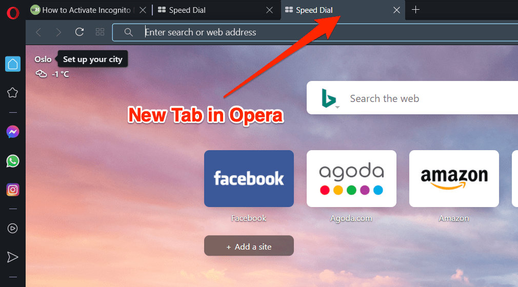 Open New Tab under same Window on Opera Browser