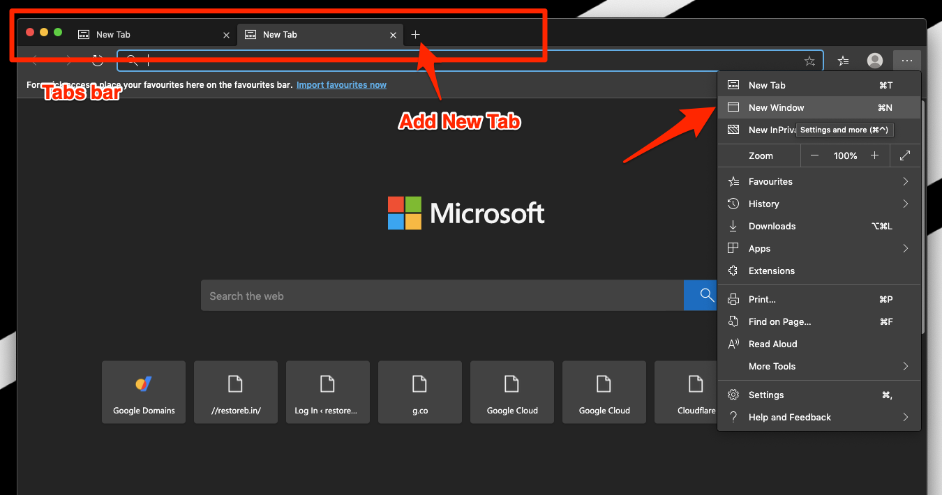 Open New Window and New Tab in Edge Computer