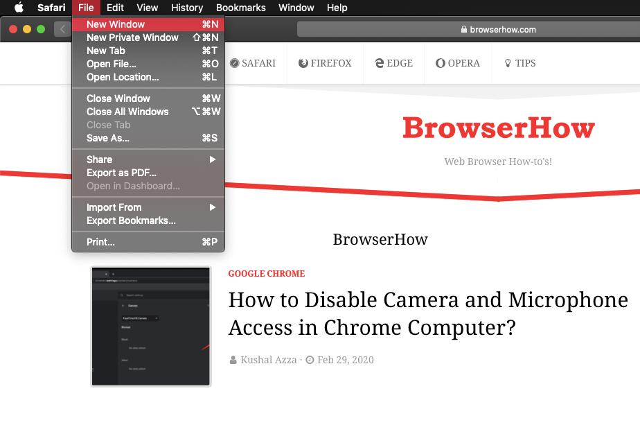 Open New Window in Apple Safari browser on MacBook