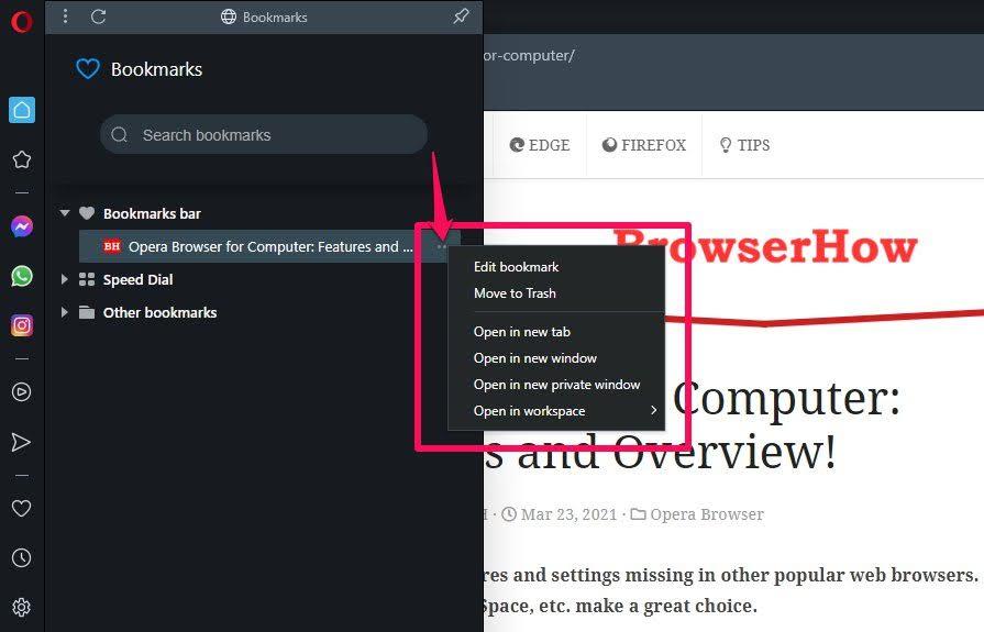 Opera Browser Bookmarks Edit or Delete