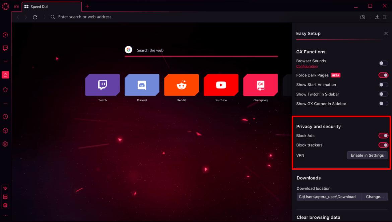 Opera GX adblock and VPN privacy settings