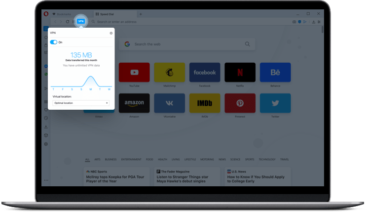 Opera VPN for free feature