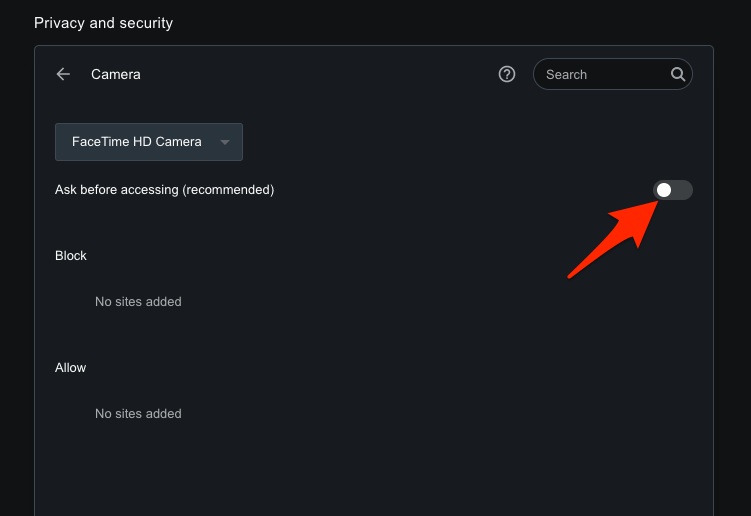 Opera Browser Disable Camera Permissions