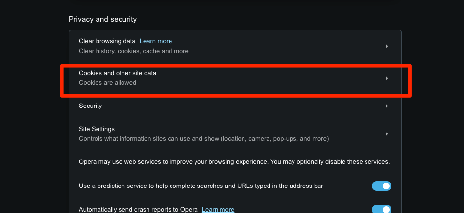 Opera cookies and other site data settings tab
