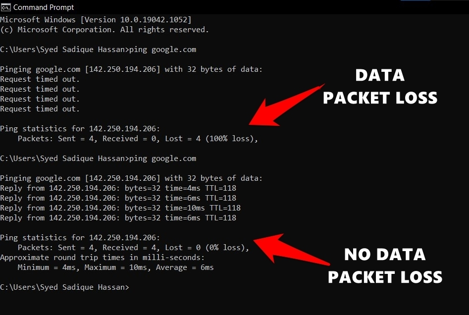 Packets and Data Ping Status in Windows OS