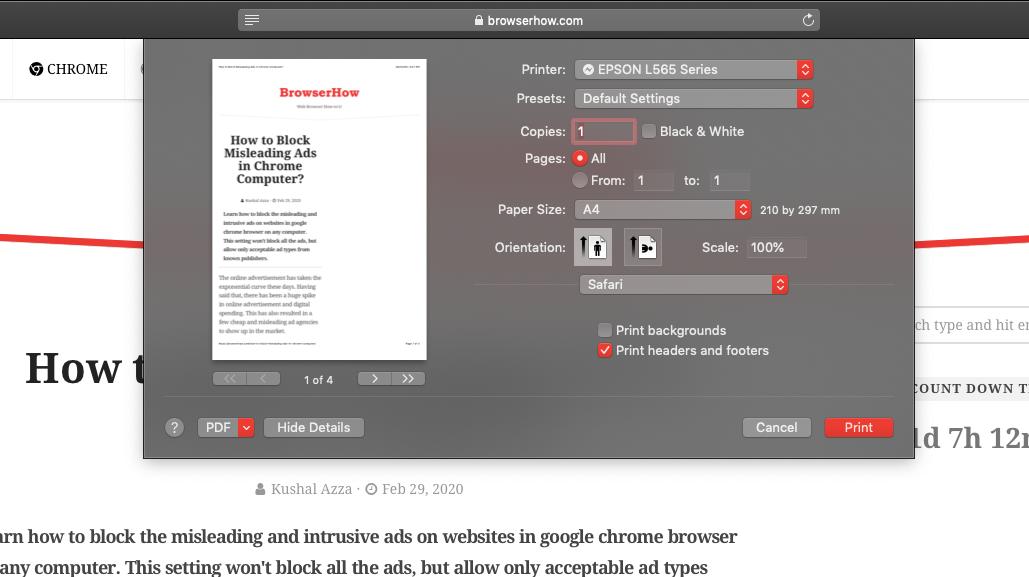 Paper Print in Safari Browser on Computer