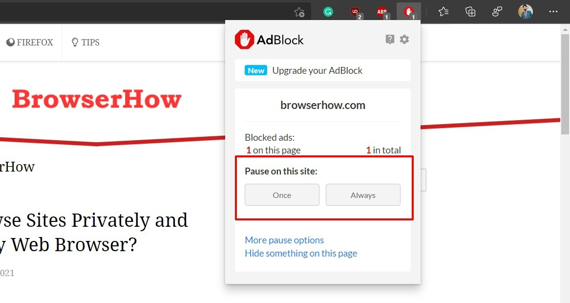 Pause ads on AdBlock extension