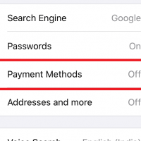 Payment Methods Tab in Chrome Settings on iPhone