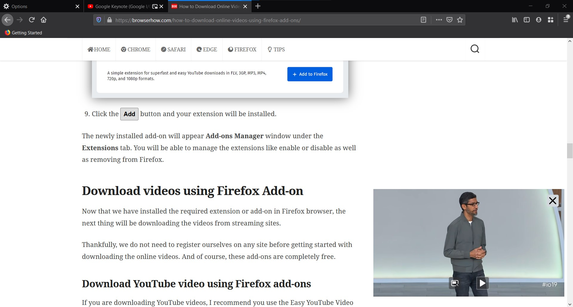 PiP Mode enabled on Firefox example