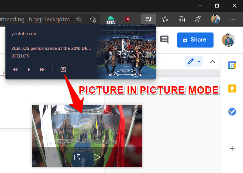 Picture in Picture feature on Microsoft Edge