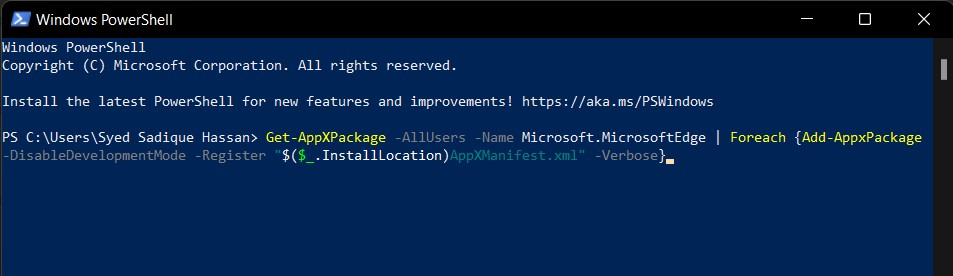 PowerShell Command to Reinstall the Edge browser