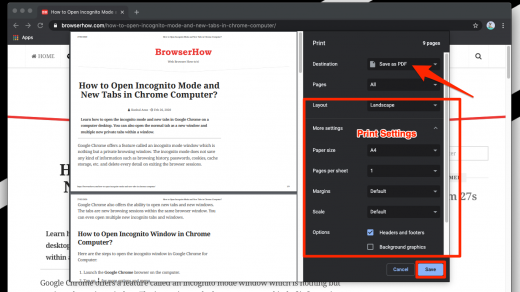 Print and Save as PDF in Chrome Computer