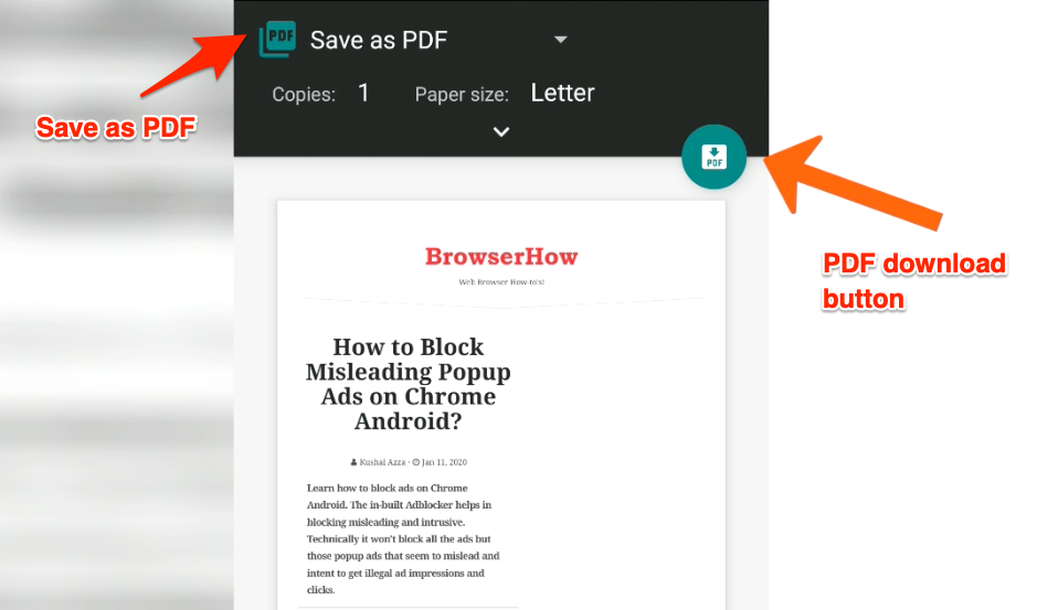 Print and Save as PDF in Edge Android