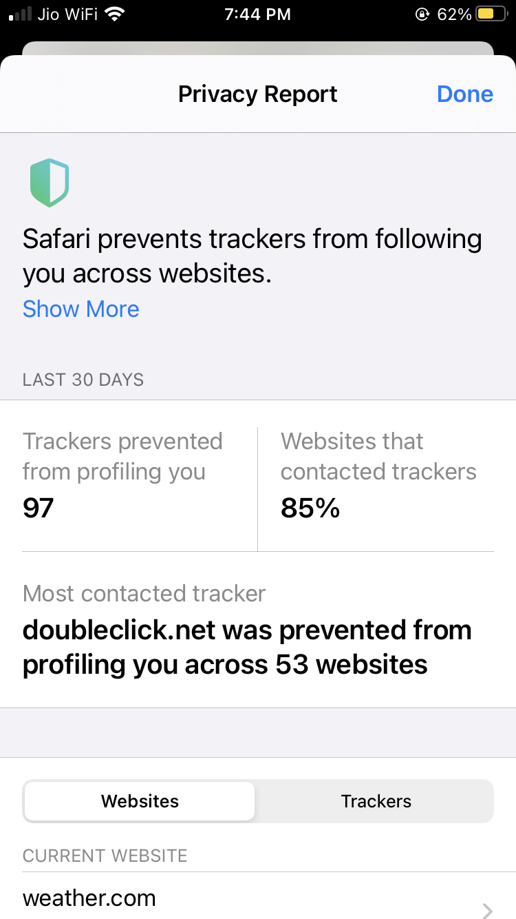 Privacy Report Overview on Safari browser