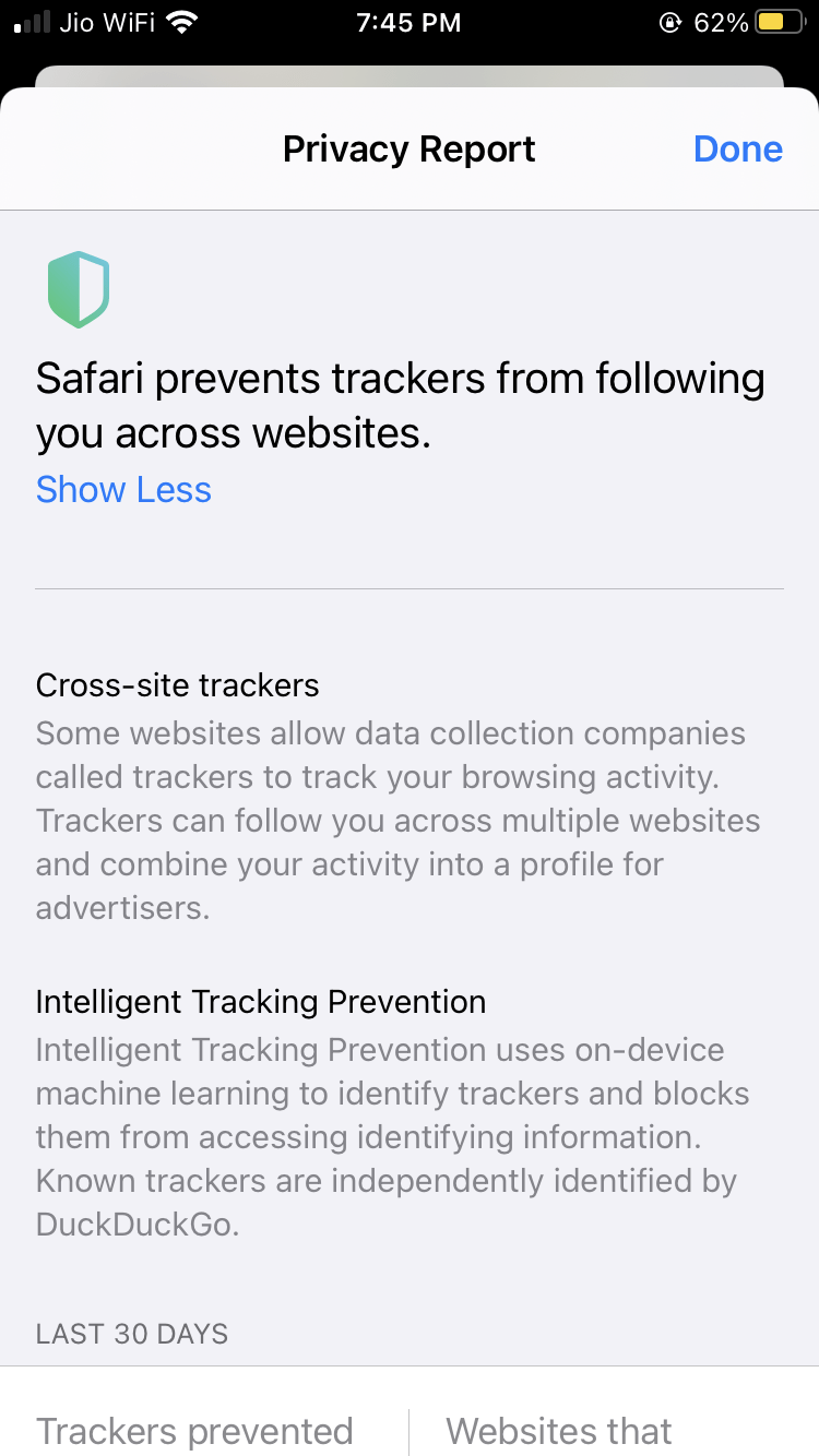Privacy Report Trackers options