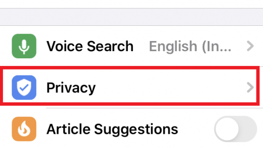 Privacy tab under Settings Menu in Chrome iOS