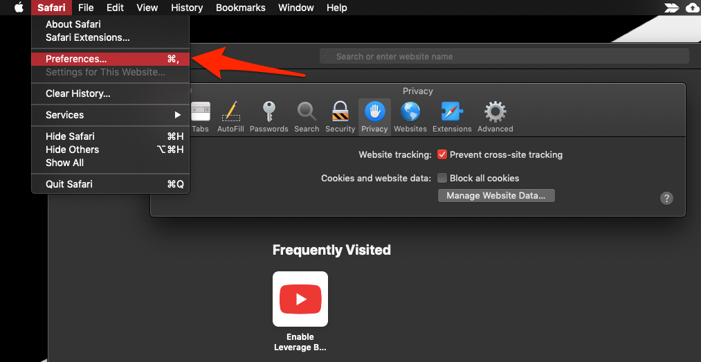 Privacy Settings Website Tracking in Safari Mac