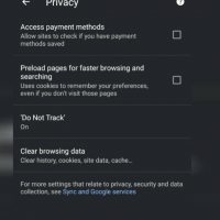 Privacy Settings in Chrome Android