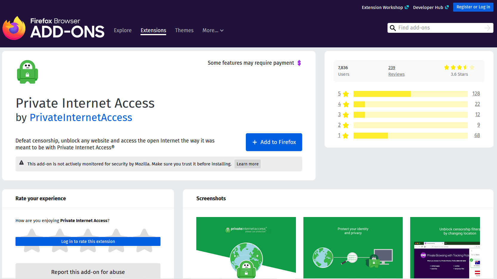 Private Internet Access VPN Firefox extension