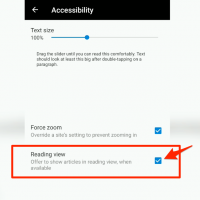 Reading view in Edge Android for simplified text