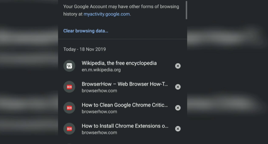 Recent browsing history in Chrome