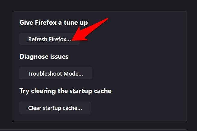 Refresh Firefox button to reset browser