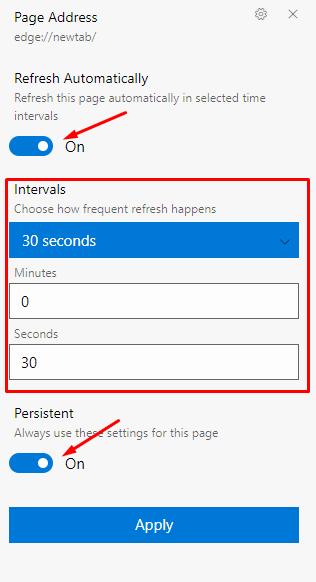 Refreshless Microsoft Edge Extension settings