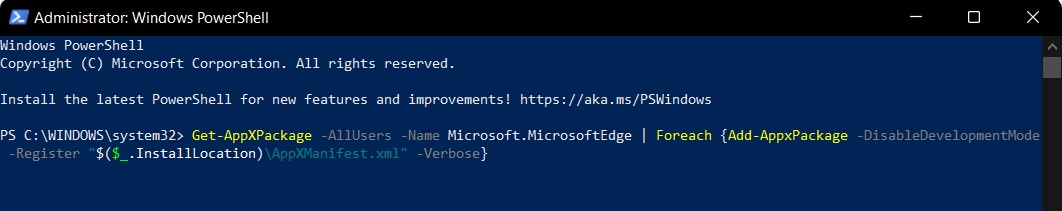 Reinstall the Microsoft Edge package from the internal storage with development mode disable