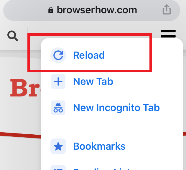 Reload Command Option in Chrome iOS