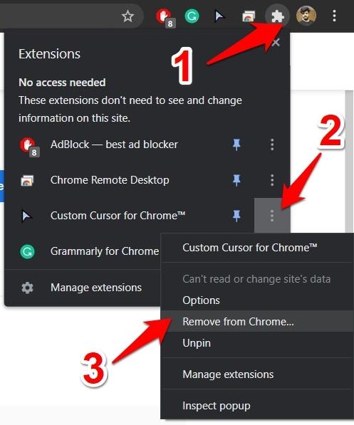 Remove Custom Cursor for Chrome extension browser