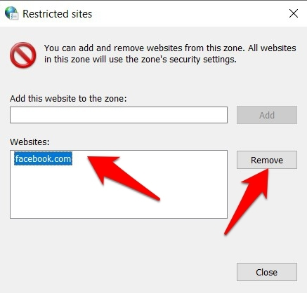 Remove Restricted Site from Internet options
