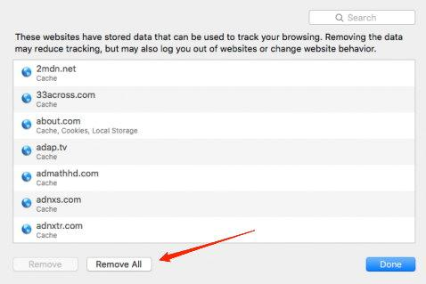 Remove Stored Data from the Safari browser