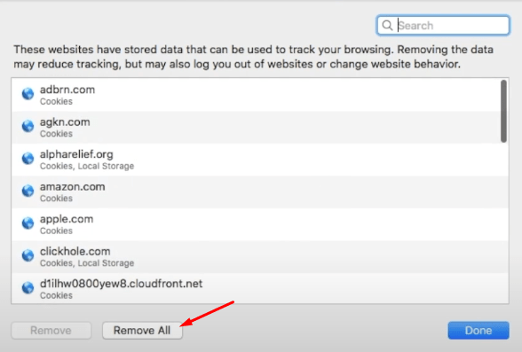 Remove all browsing and cache data from Safari browser