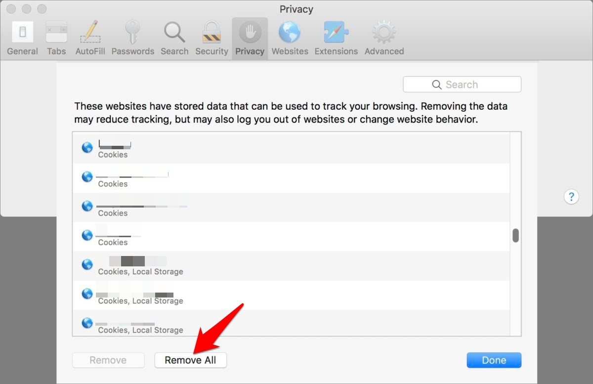Remove all cookies and storage data from Safari browser