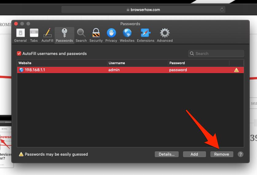 Remove Saved Password from Safari MacOS computer