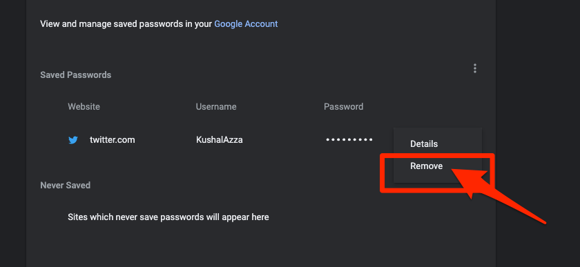Remove Saved Password in Chrome Computer