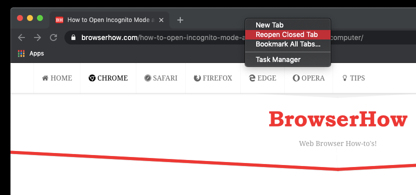 Reopen Closed Tab from Tabs bar in Chrome Computer