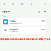 Reopen recent closed tabs in Edge Android