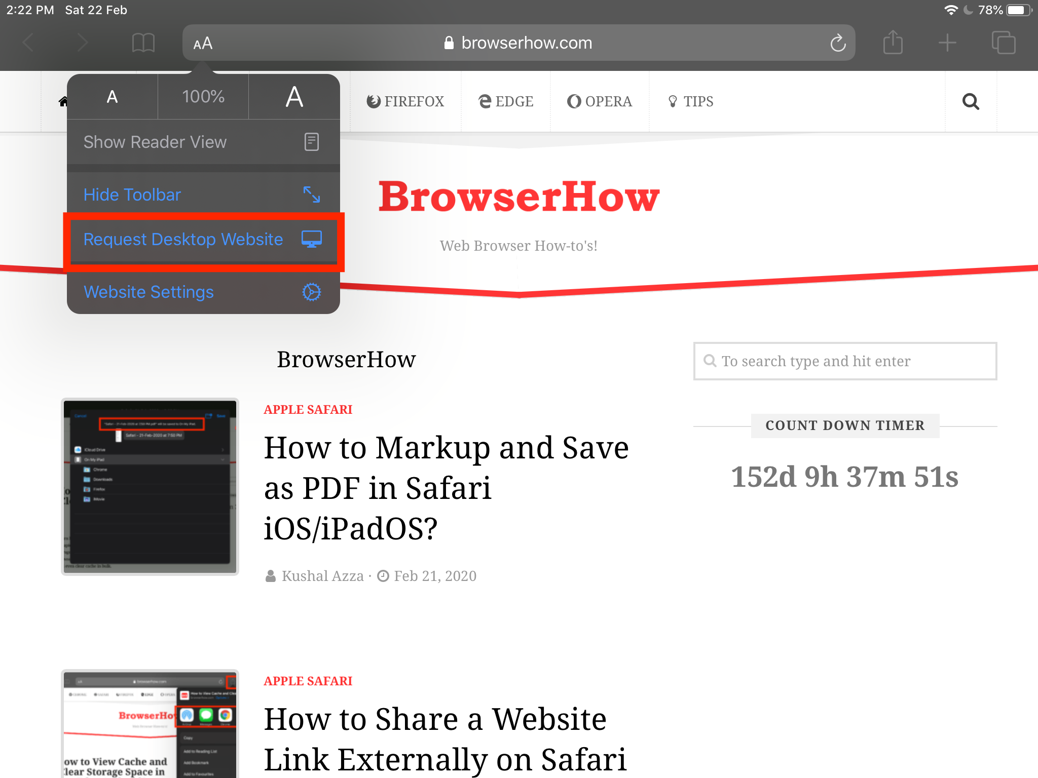 Request Desktop Site from Safari on iPhone and iPad