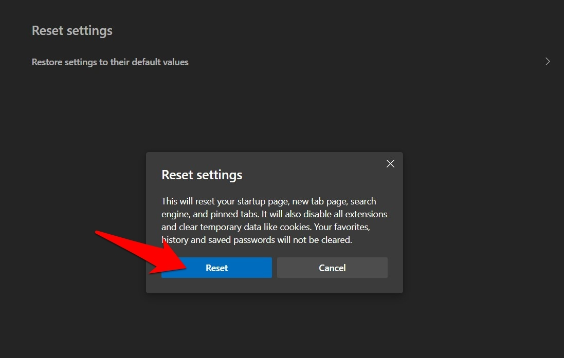 Reset Settings of Edge browser on Computer